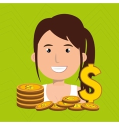 woman with coins isolated icon design vector image