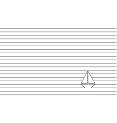 yacht in ocean - striped background black and vector image