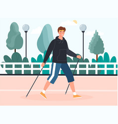 Young man doing nordic walking outdoors vector