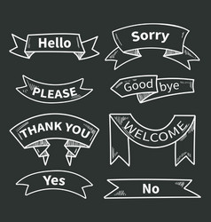 Dialog words on ribbons short phrases thank you vector