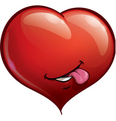Heart Faces Happy Emoticons Tongue vector image vector image