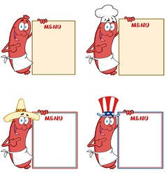 Sausages Showing Menu Collection vector image vector image
