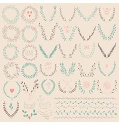 Set of Laurel Floral Wreaths and Frames vector image