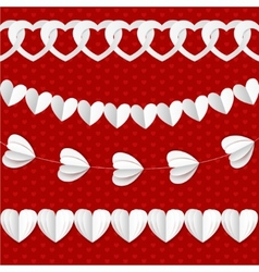 White seamless paper garlands from hearts vector image vector image