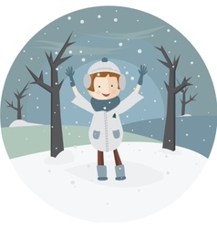 A girl and the first snow vector