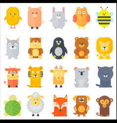 animal icons collection flat animals set vector image vector image