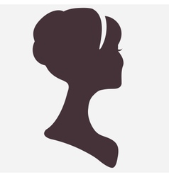 Beautiful woman head silhouette with stylish vector image