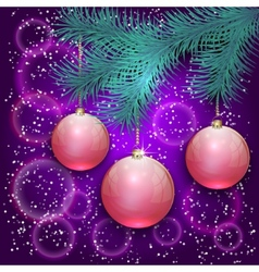christmas with blue tree branch and balls on bokeh vector image