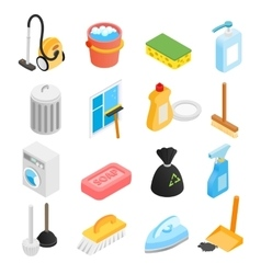 Cleaning isometric 3d icons vector image