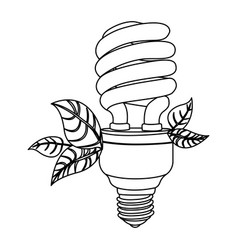 energy-saving light bulbs with leaves icon vector image vector image
