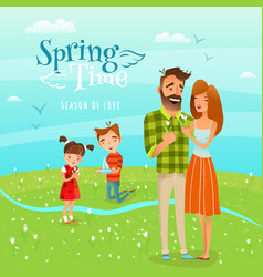 family and season spring vector image vector image