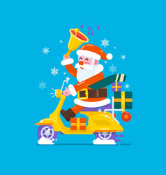happy smile santa claus riding scooter motorcycles vector image