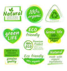 healthy eco vegetarian food organic logos vector image vector image