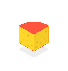 isometric cheese icon with shadow vector image