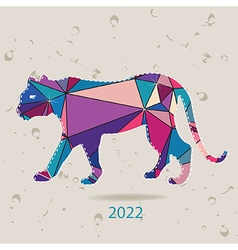 The 2022 new year card with Tiger made of vector image vector image