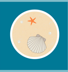 badge with sseashell starfish and pearls vector image vector image