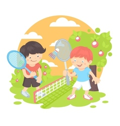 Boys playing badminton vector image