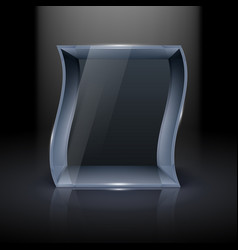 Empty glass showcase in wave form for vector