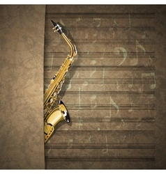 musical background sax on old sheet music notation vector image