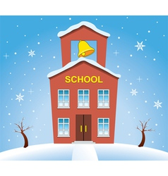 school house in winter vector image