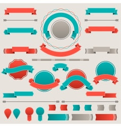 Set of retro badges labels ribbons and design vector