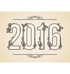 Calligraphic Year number 2016 Design vector image vector image