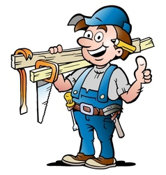 Happy Carpenter Handyman vector image vector image