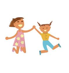 happy little girls vector image vector image