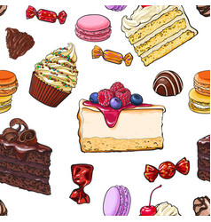 seamless pattern of hand drawn cakes candies vector image