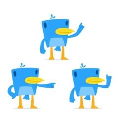 set of funny cartoon blue bird vector image vector image