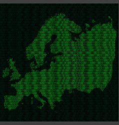 silhouette of europe from binary digits vector image vector image