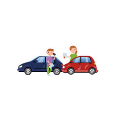 Two cars involved in a car wreck auto insurance vector