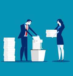 A businessman is shredding important documents vector