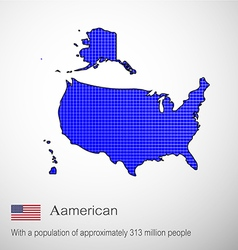 Aamerican map blue pen to write vector image