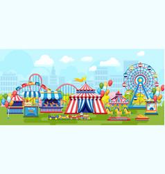 amusement park in city vector image