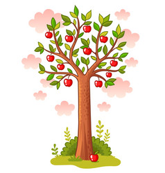 Apple tree stands in the meadow vector