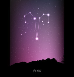 Aries zodiac constellations sign with forest vector