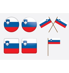 badges with flag of Slovenia vector image