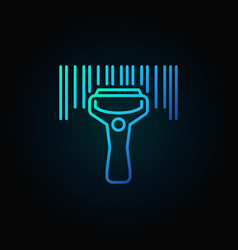 Barcode scanning blue icon vector