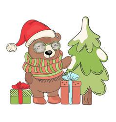 bear santa gift merry christmas cartoon ill vector image