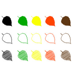 birch leaf color set vector image