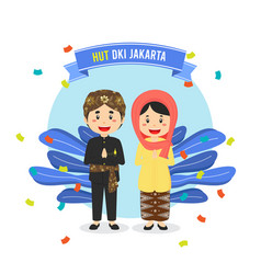 Birthday jakarta greeting card with character vector