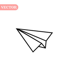 Black linear paper plane icon on a white vector