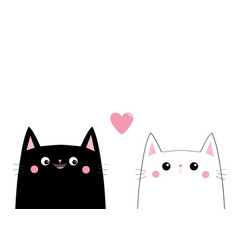 Black white cat head face love couple pink heart vector
