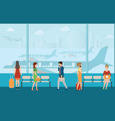 Business people in airport terminal vector