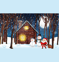 cabin in the winter wood vector image