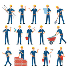 Cartoon worker character technician workers vector