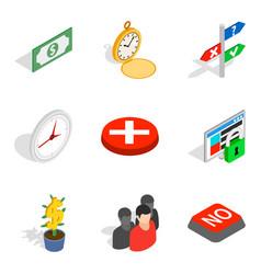 Cash nexus icons set isometric style vector