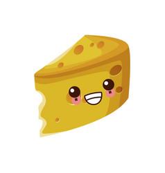 Cheese dairy food cute kawaii cartoon vector