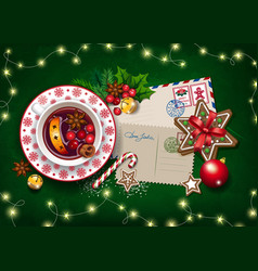 Christmas card letter to santa and big cup vector